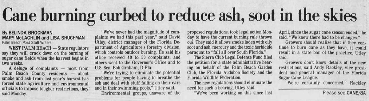 The Palm Beach Postの1991年の記事は、より厳しい杖の燃焼制限について報告しています。