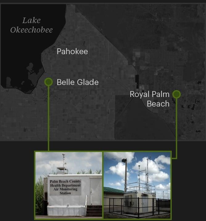 州は、Gladesの砂糖生産地域で1台の空気モニターを運用しています。 次に近いモニターは、ロイヤルパームビーチの東にあります。