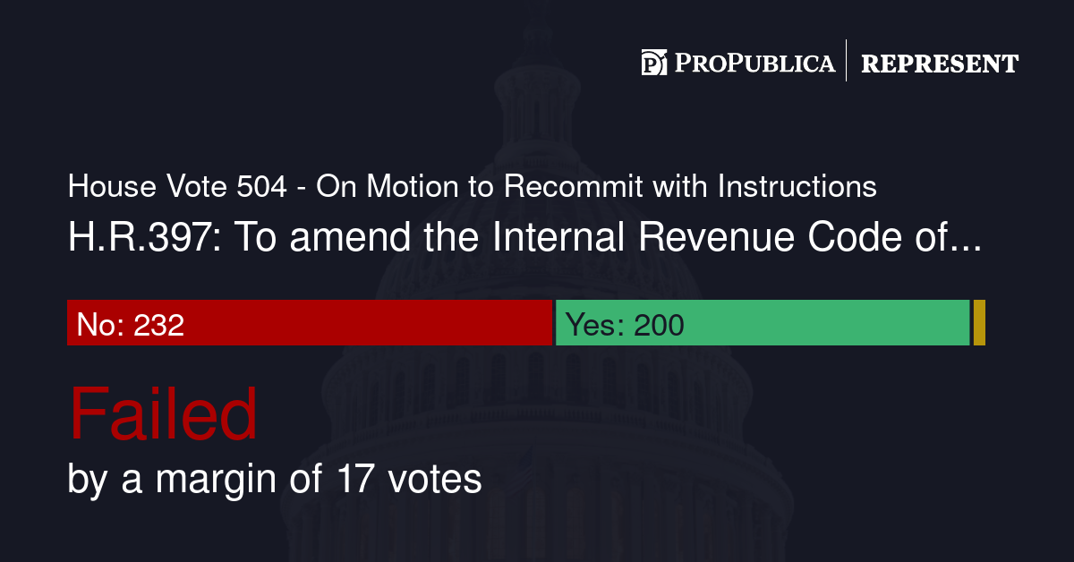 House Vote 504 - On Motion to Recommit with Instructions